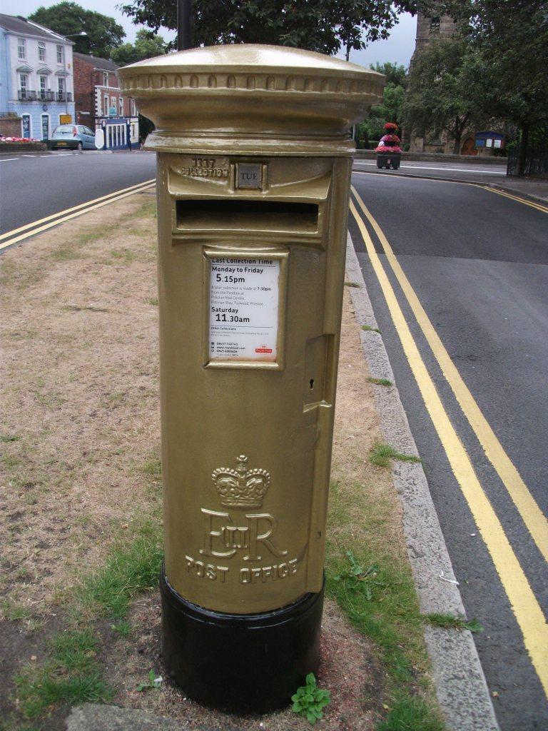 Gold post box, Bradley Wiggins, Chorley PR7 5 (2)