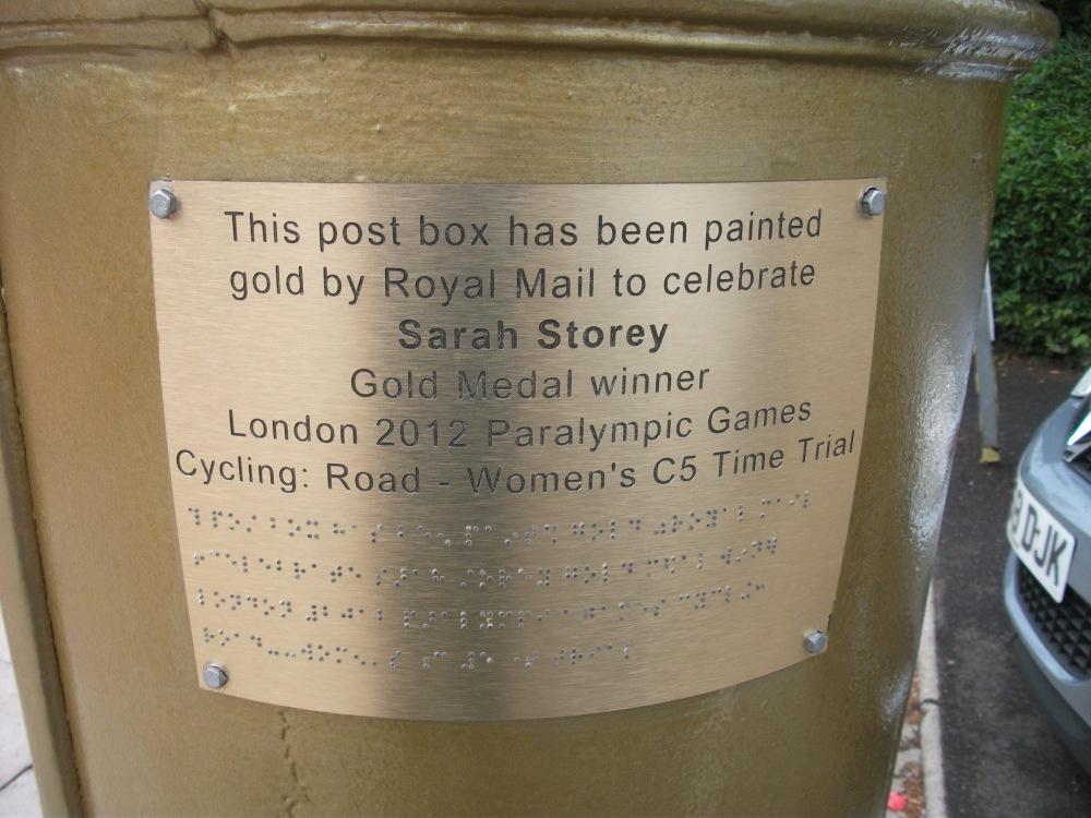 Gold post box. Sarah Storey. M6 108 Eccles (3)