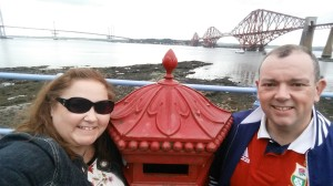 forth bridge, forth rail bridge, unesco world heritage site, three bridges, replica VR penfold pillar box, post box
